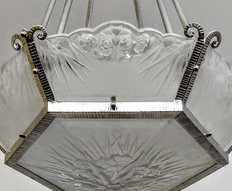 Embossed French Art Deco Chandelier by DAUM LORRAIN For Sale