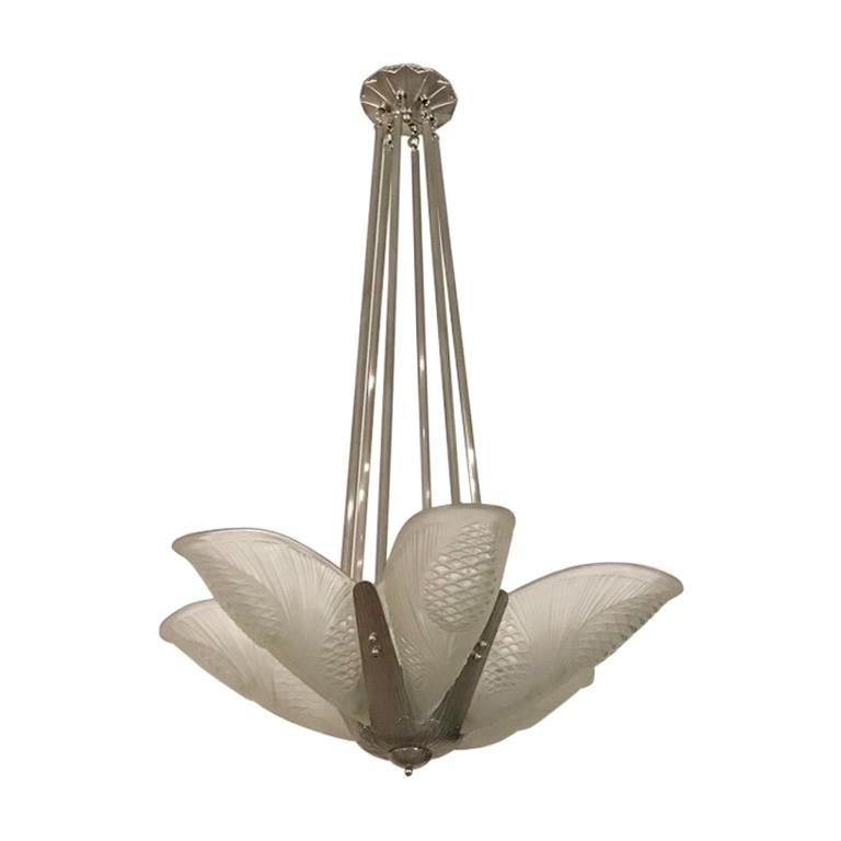 French Art Deco Chandelier by Degué