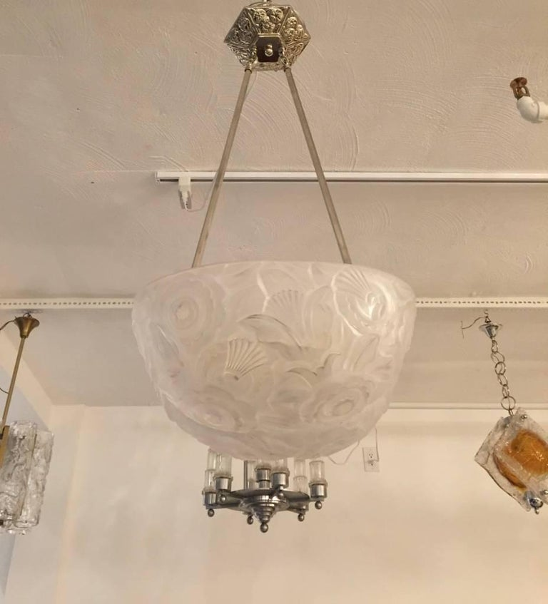 French Art Deco Chandelier by Genet et Michon For Sale 1