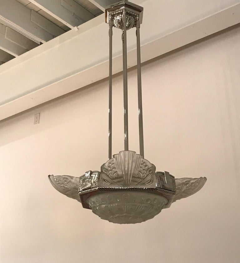 French Art Deco Chandelier by Georges Leleu For Sale 9