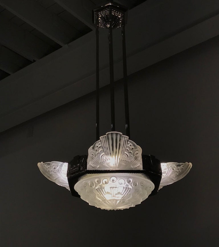 French Art Deco Chandelier by Georges Leleu For Sale 10