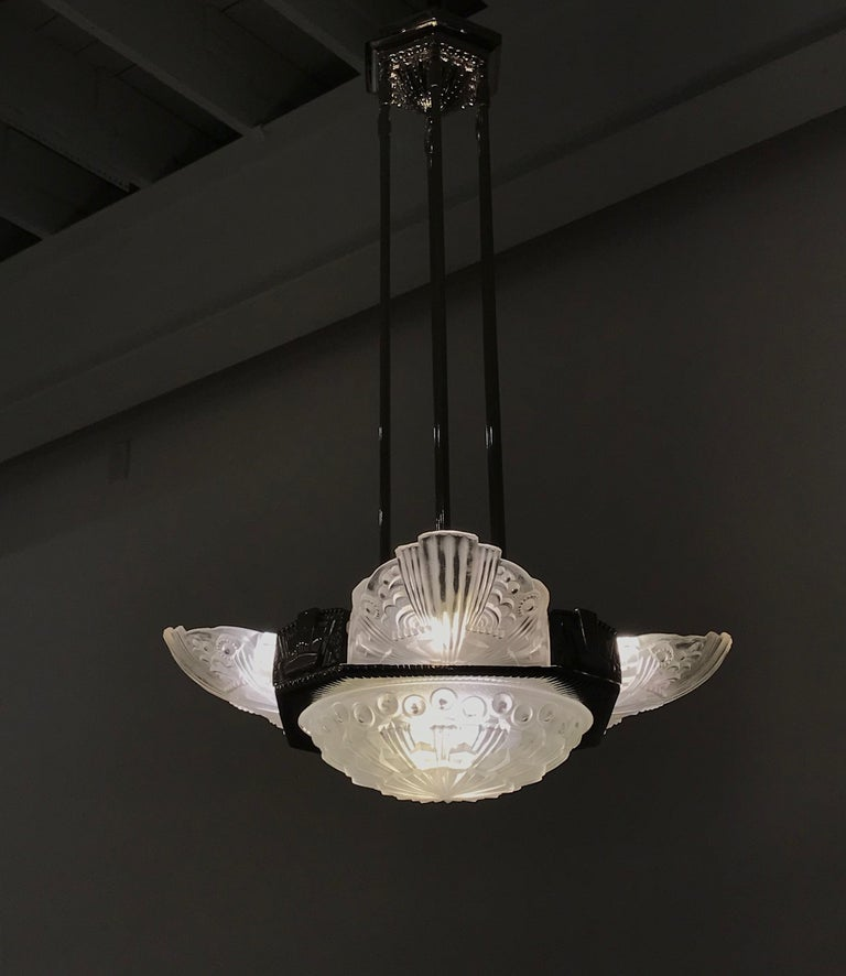 French Art Deco Chandelier by Georges Leleu For Sale 11