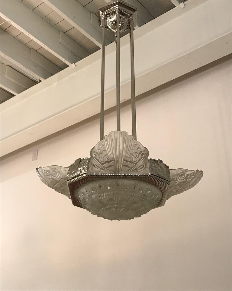 20th Century French Art Deco Chandelier by Georges Leleu For Sale