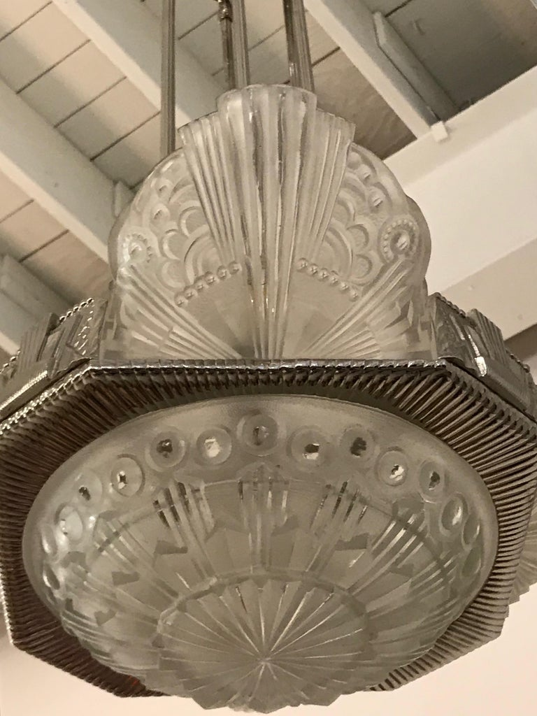 French Art Deco Chandelier by Georges Leleu For Sale 1