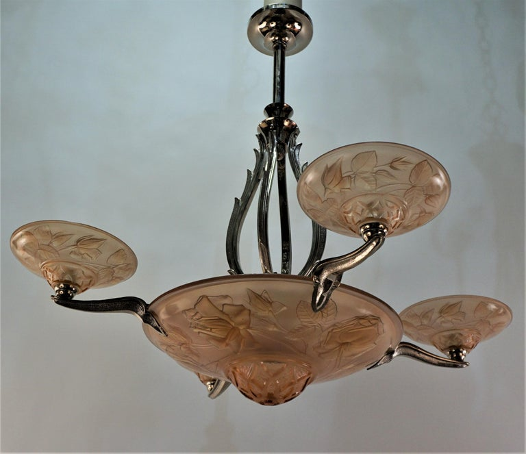 French Art Deco Chandelier by Maurice Model Verden For Sale 5