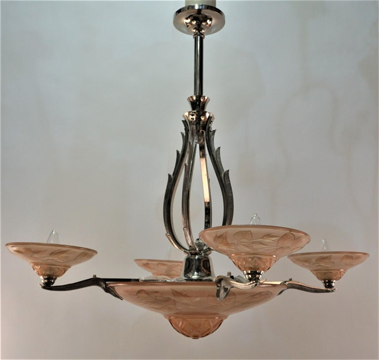French Art Deco Chandelier by Maurice Model Verden For Sale 6