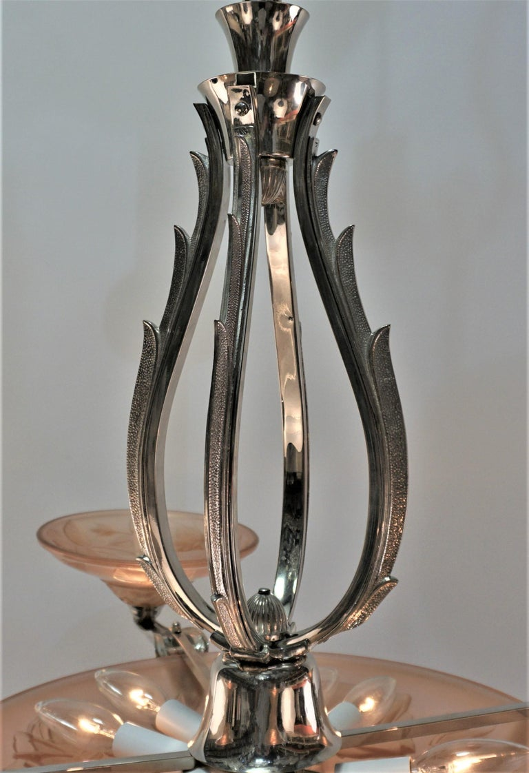 French Art Deco Chandelier by Maurice Model Verden For Sale 3