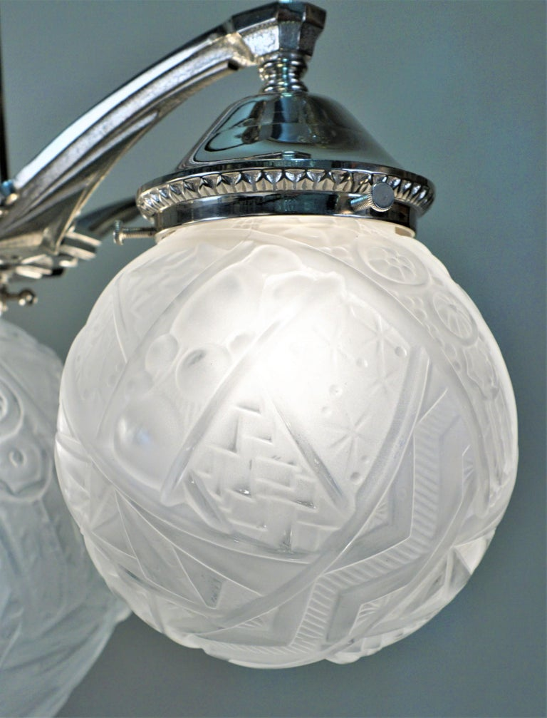 Glass French Art Deco Chandelier by Muller Freres For Sale
