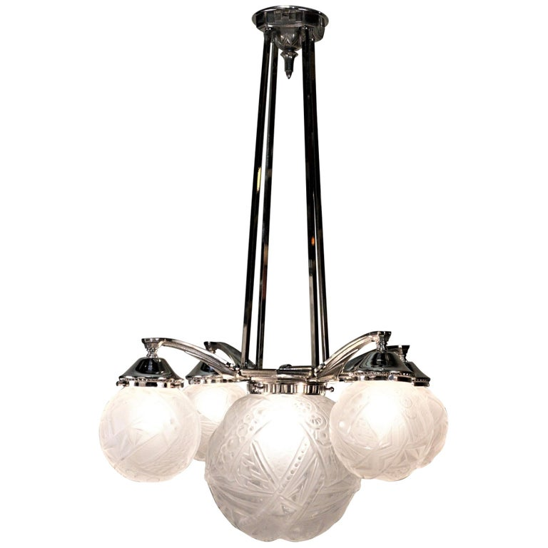 French Art Deco Chandelier by Muller Freres For Sale