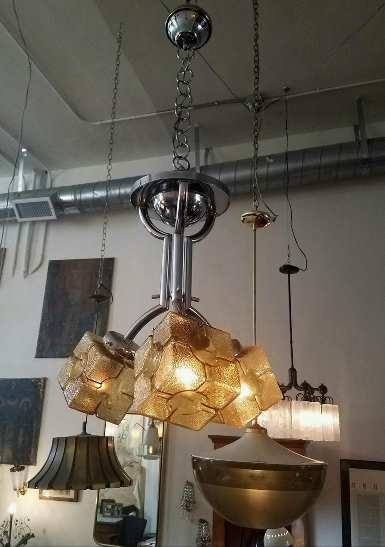 Chrome French Art Deco Chandelier For Sale