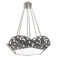 French Art Deco Chandelier Geometric Flower