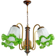 French Art Deco Chandelier in Brass, Copper & Frosted Green Glass 5-Light Shades