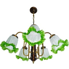 French Art Deco Chandelier in Brass, Copper and Frosted Green Glass Shades