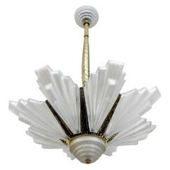 French Art Deco Chandelier Signed Marius-Ernest Sabino