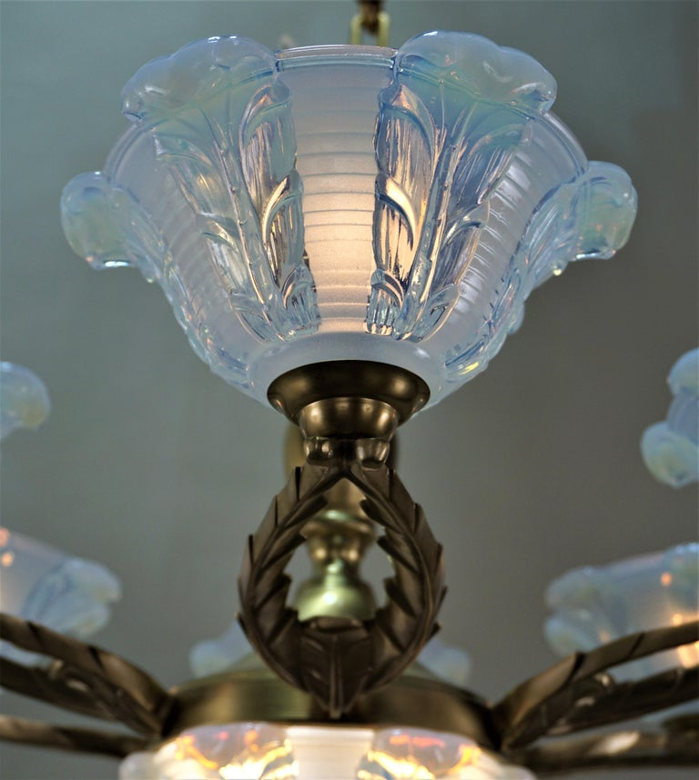 French Art Deco Chandelier with Opalescent Glass Shades by Ezan In Good Condition For Sale In Fairfax, VA