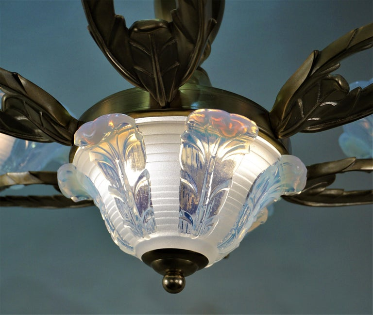 Mid-20th Century French Art Deco Chandelier with Opalescent Glass Shades by Ezan For Sale