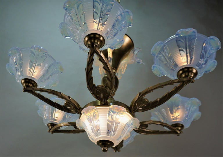 Bronze French Art Deco Chandelier with Opalescent Glass Shades by Ezan For Sale