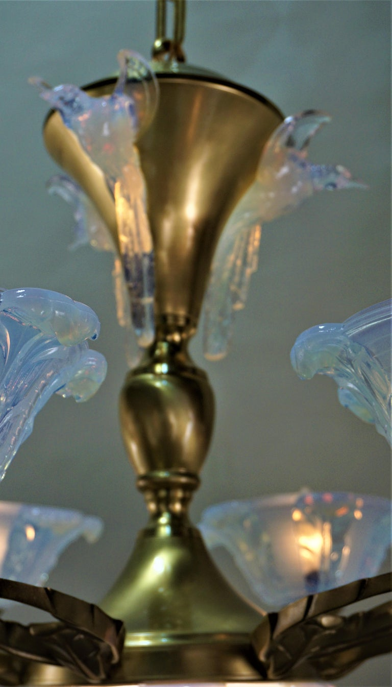 French Art Deco Chandelier with Opalescent Glass Shades by Ezan For Sale 1