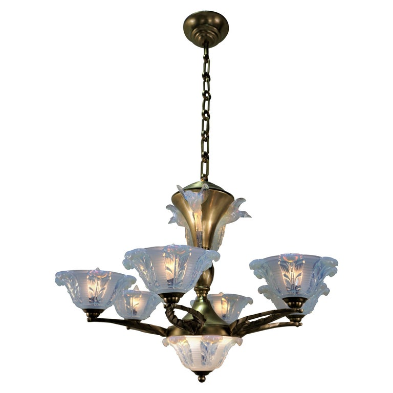 French Art Deco Chandelier with Opalescent Glass Shades by Ezan For Sale