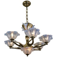 French Art Deco Chandelier with Opalescent Glass Shades by Ezan & Petitot