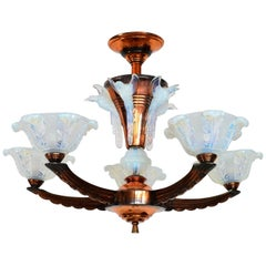 French Art Deco Chandelier with Opaline Glasses, 1930s