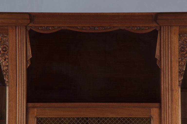 Mid-20th Century French Art Deco Cherrywood Bookcase, 1930s For Sale