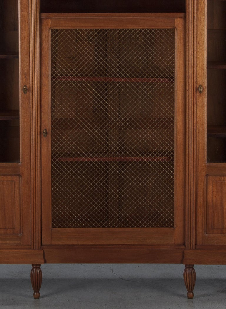 Glass French Art Deco Cherrywood Bookcase, 1930s For Sale