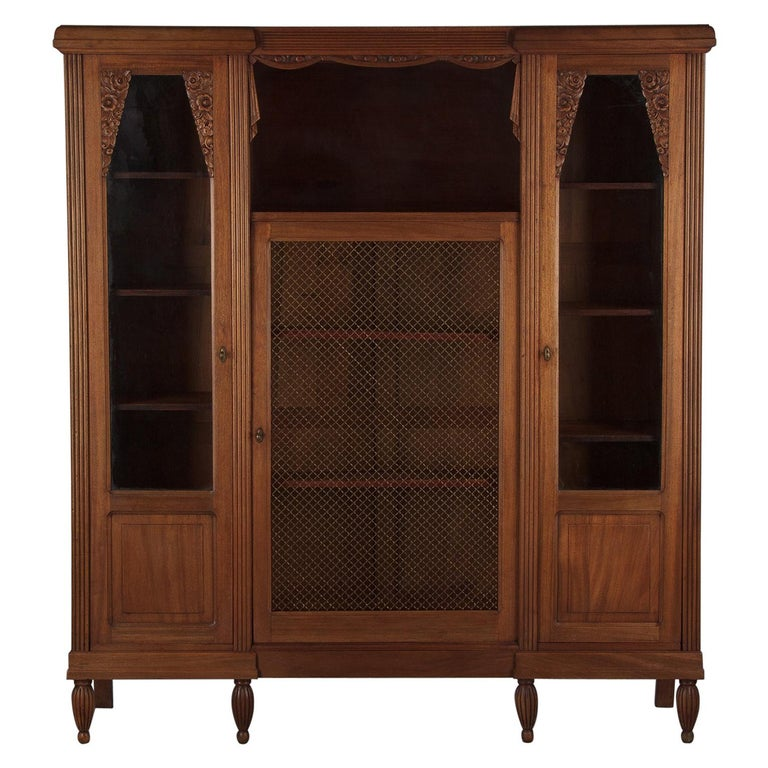 French Art Deco Cherrywood Bookcase, 1930s For Sale