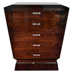 French Art Deco Chest of Drawers in Walnut with Silver Handles