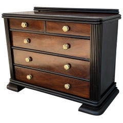 French Art Deco Chest of Drawers with Ebonized Base and Columns