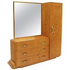 French Art Deco Chifforobe Dresser with Mirror Closet Cabinet Tiger Maple