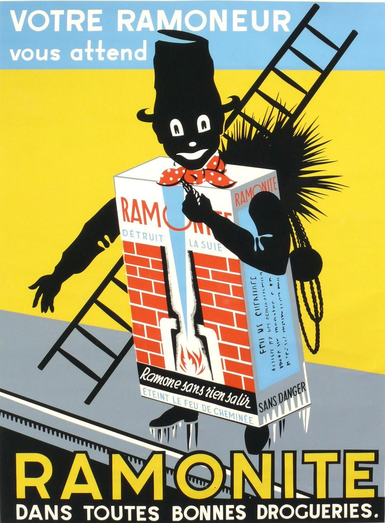 French Art Deco chimney sweep lithograph poster, France or Brussels, circa 1930s. It measures an impressive 63