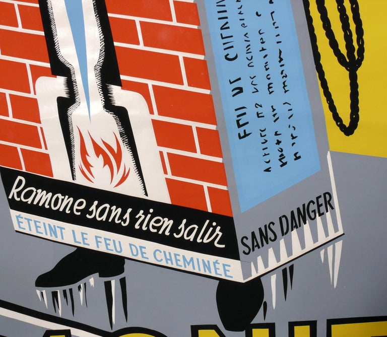 French Art Deco Chimney Sweep Lithograph Poster In Good Condition For Sale In Atlanta, GA