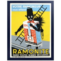 French Art Deco Chimney Sweep Lithograph Poster
