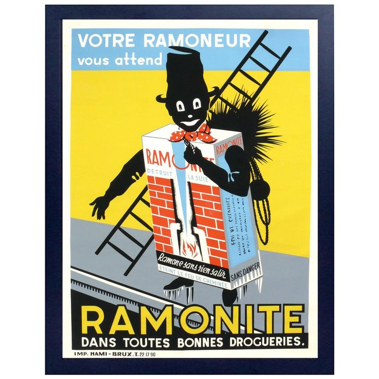 French Art Deco Chimney Sweep Lithograph Poster For Sale