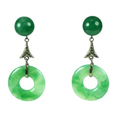 French Art Deco Chinoiserie Faux Jade Drop Earclips