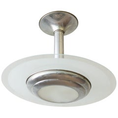French Art Deco Chrome and Frosted Glass Ceiling Fixture