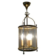 French Art Deco Chrome and Glass Lantern Hall Light
