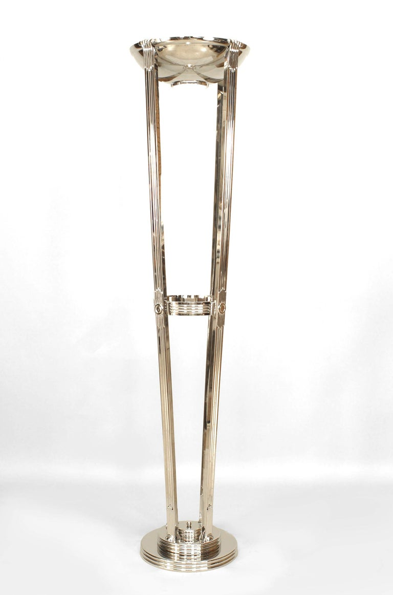 French Art Deco Chrome Floor Lamps In Good Condition For Sale In New York, NY