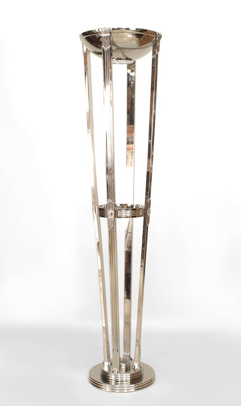 20th Century French Art Deco Chrome Floor Lamps For Sale