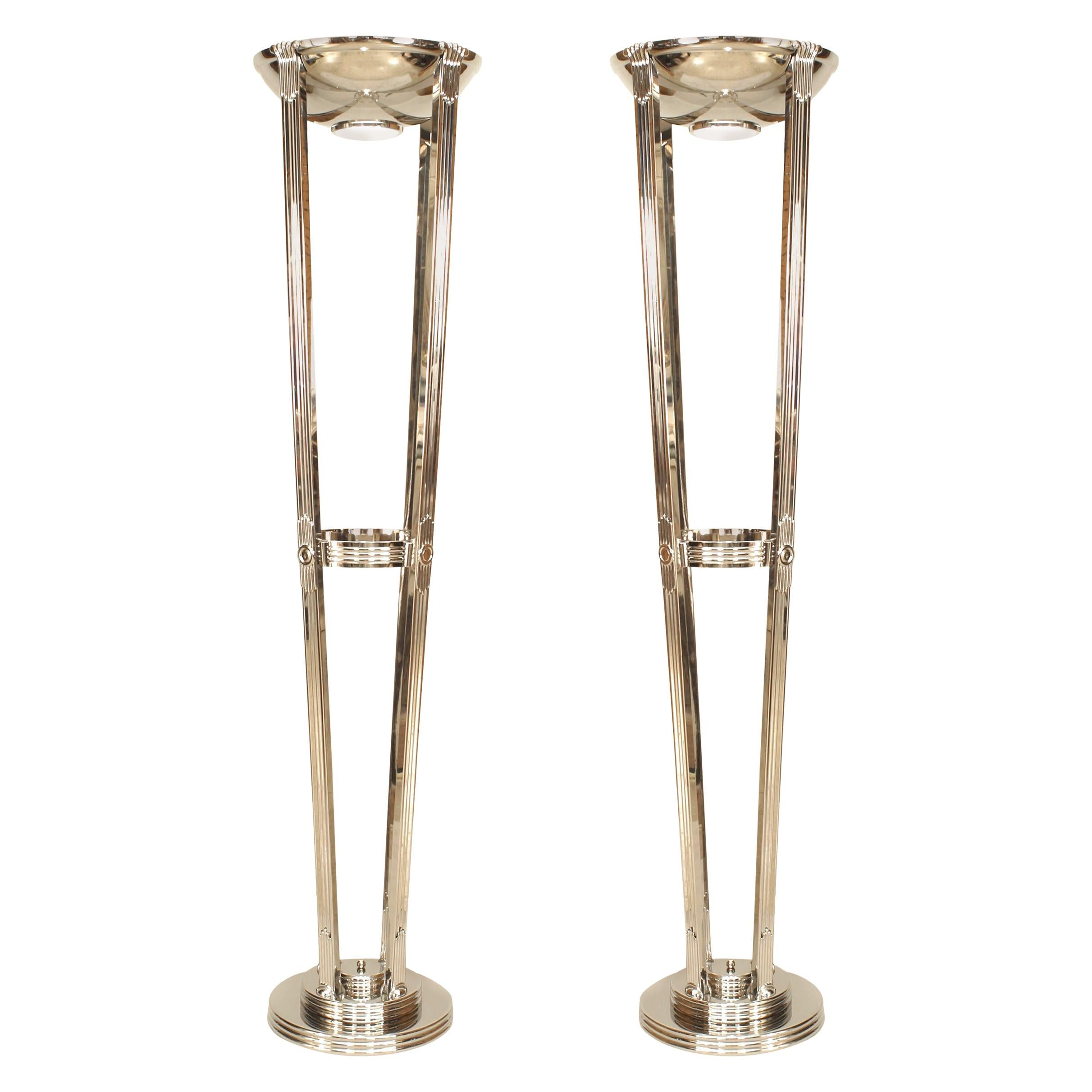 2 Pairs of French Art Deco Style Chrome Floor Lamps
