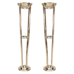French Art Deco Chrome Floor Lamps