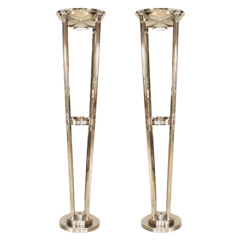French Art Deco Chrome Floor Lamps For Sale