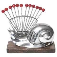 French Art Deco Chrome Snail Cocktail Pick Horderves Set with Bakelite Forks