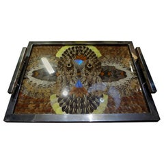 French Art Deco Chrome Tray with Butterfly Wings