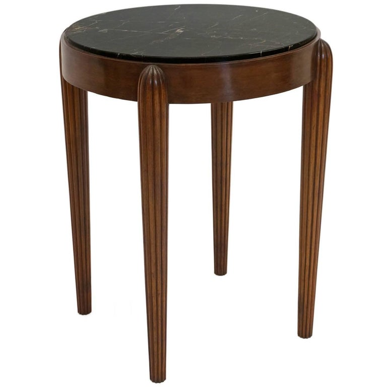 French Art Deco Circular Side Table with Black Marble Top