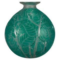 """French Art Deco Clear & Frosted Glass Vase """"Milan"""" by René Lalique"""