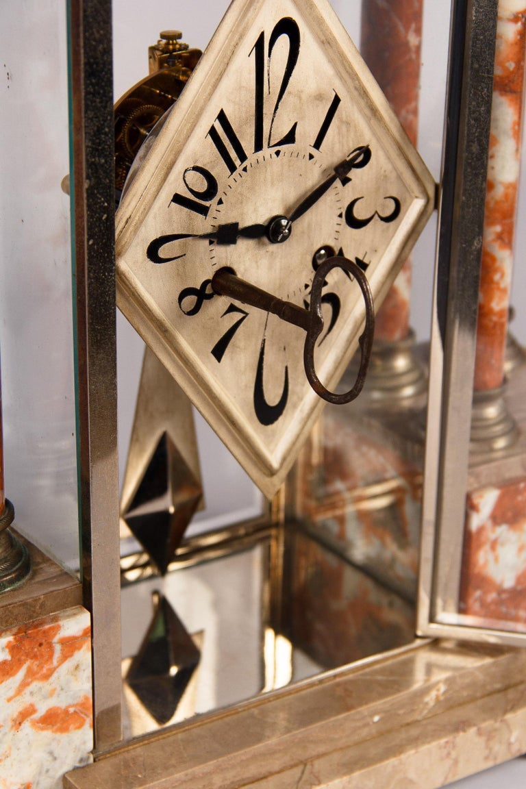 French Art Deco Marble Mantel Clock, 1930s For Sale 11