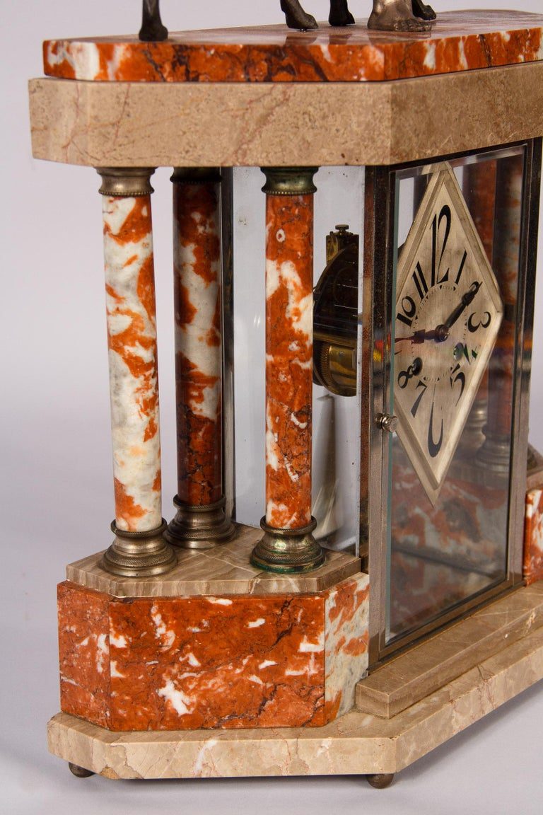 French Art Deco Marble Mantel Clock, 1930s For Sale 12