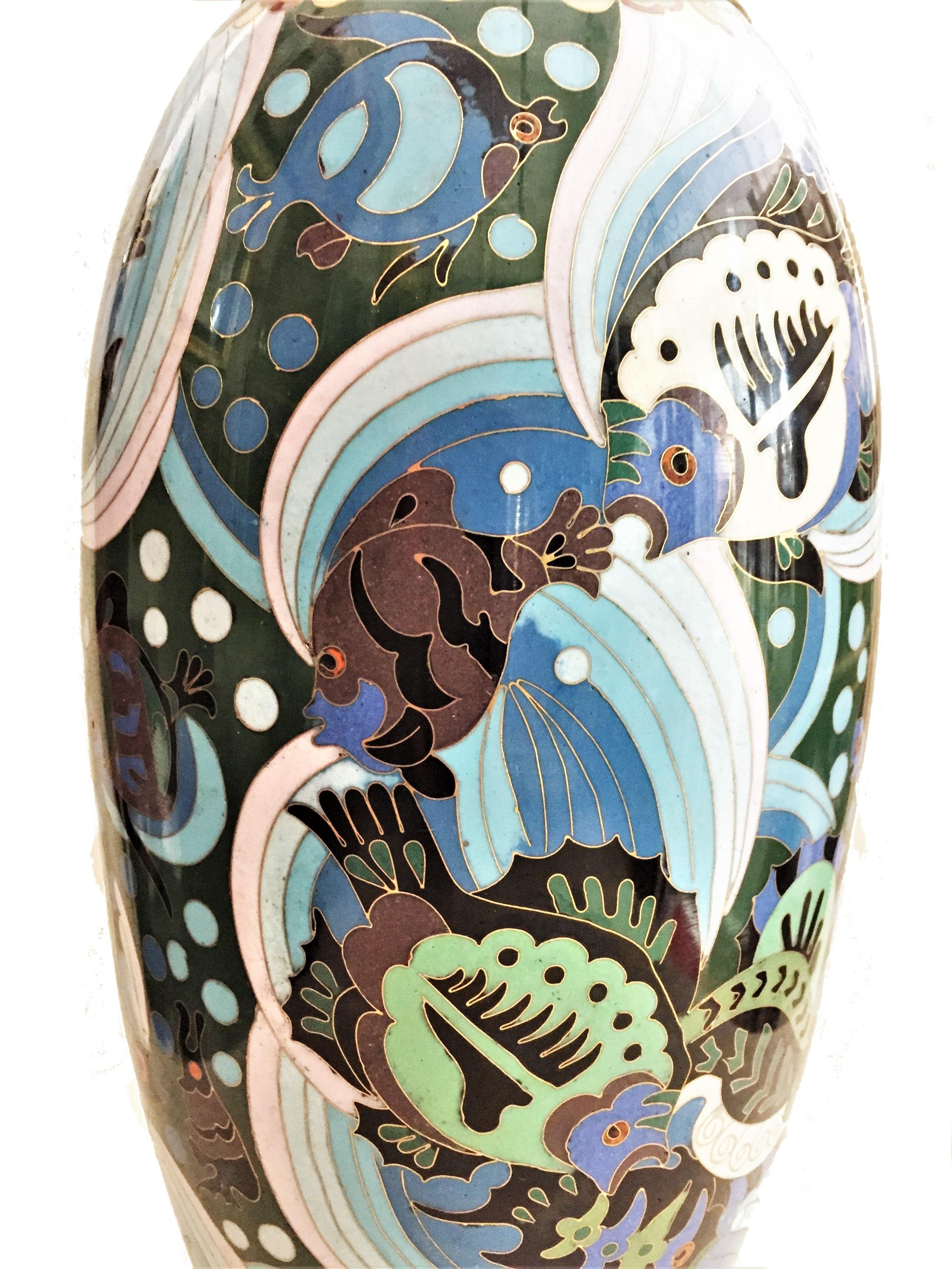 259 & French Art Deco Cloisonné Enamel Vase with Fish and Sea Horses circa 1920s